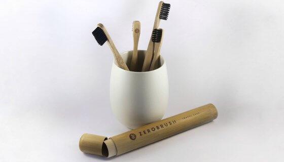 Bamboo 'Zerobrush' Toothbrush Plain Hard Bristle image