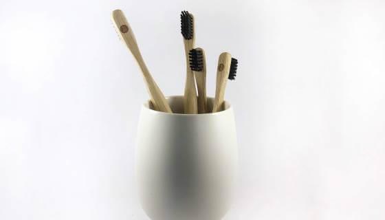 Children's Pink Bamboo 'Zerobrush' Toothbrush - Soft Bristle image